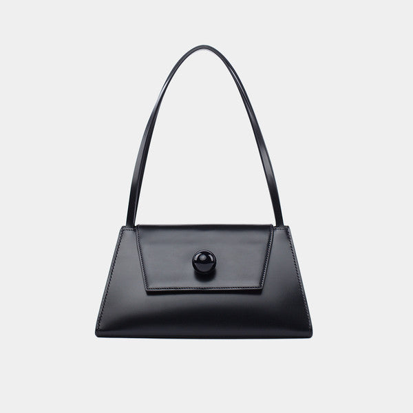 Triangular Leather Handbag | Black