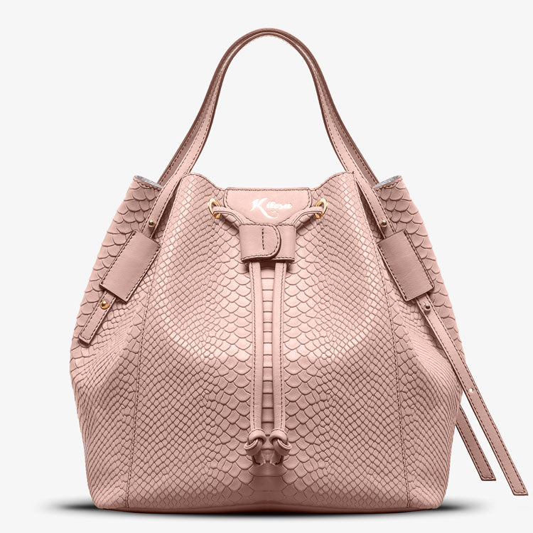 WALLY PYTHON EMBOSSED BUCKET BAG