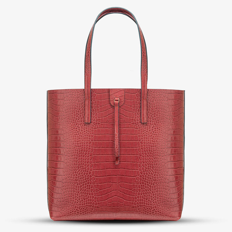 WANDY CROCO EMBOSSED LEATHER SHOPPER