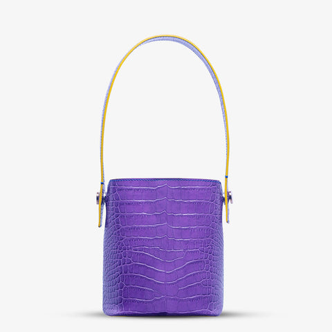 WANDY CROCO EMBOSSED MINI BUCKET BAG
