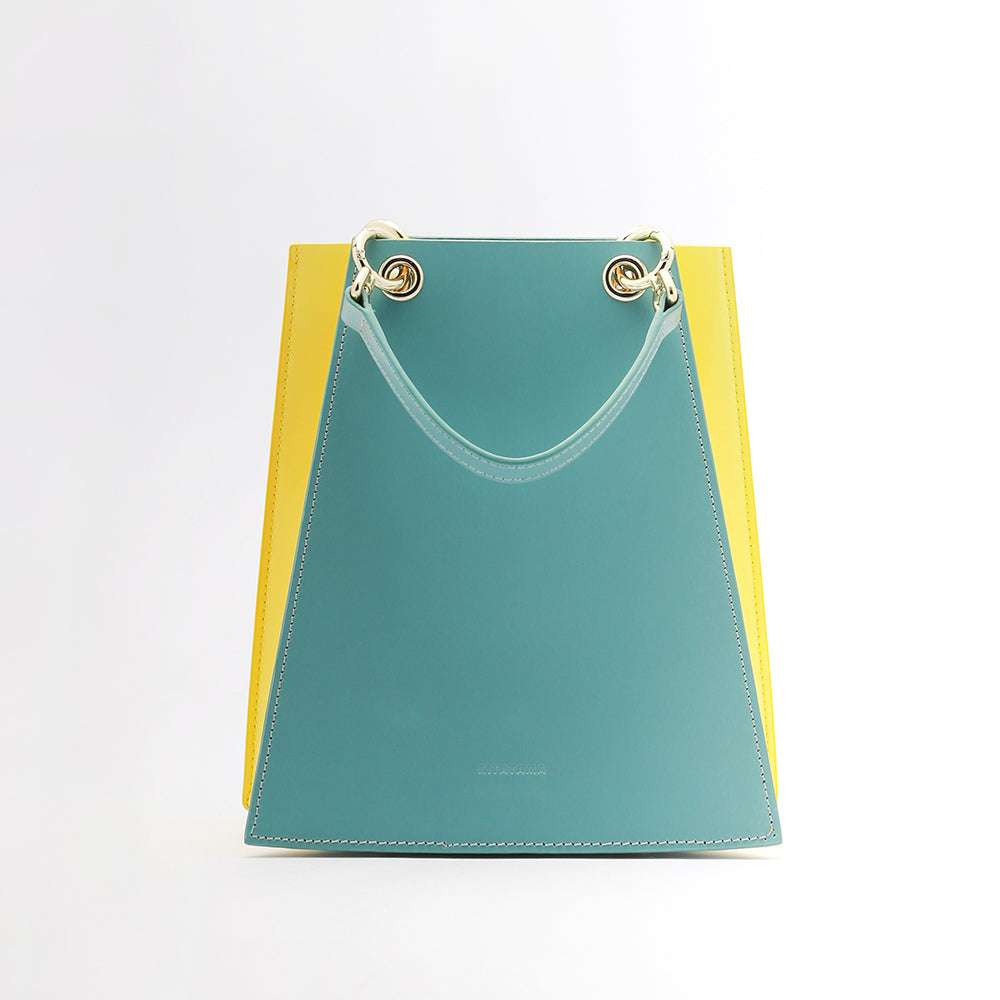 Two Tone Folded Leather bag | Blue