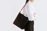 LEATHER TOP HANDLE TWO-TONE TOTE