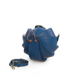 Small Round Leather Shoulder Beetle Bag Blue
