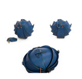 Small Round Leather Shoulder Beetle Bag Blue Sale
