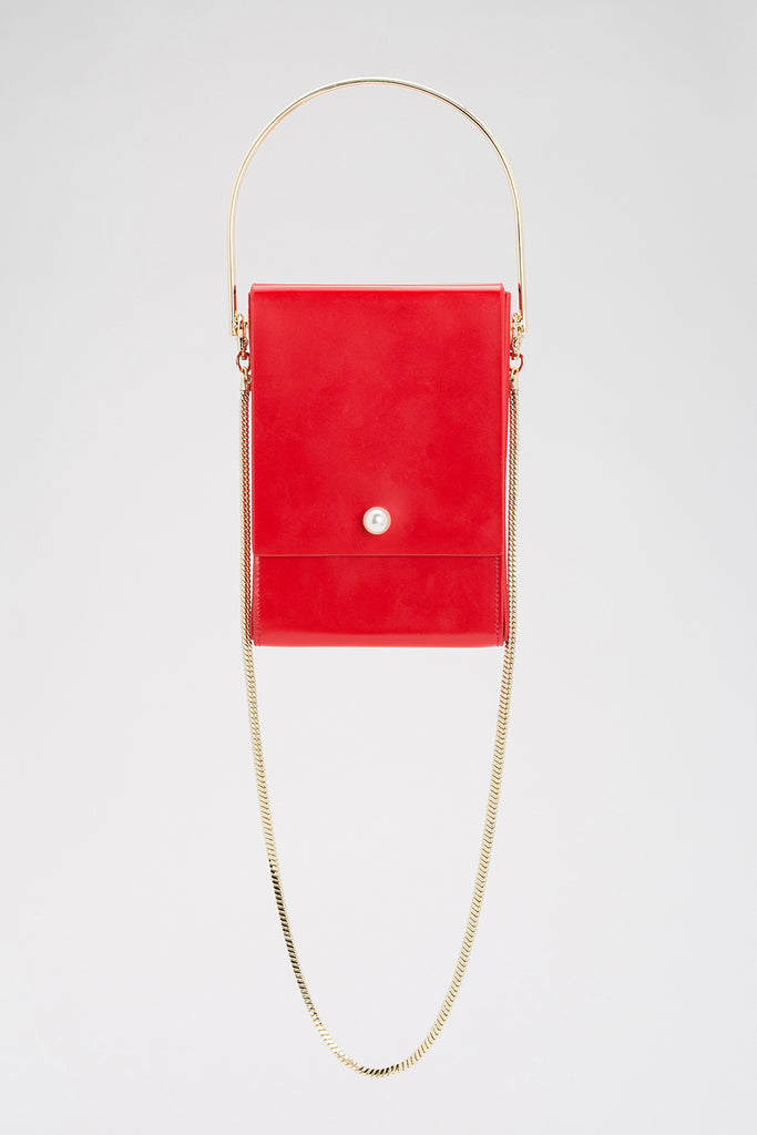 Box Crossbody Bag with Frill | Red