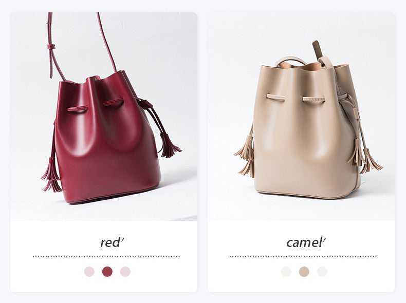 Promotion Leather Tassel Bucket Bag | Autumn