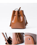 SALE of Leather Tassel Bucket Bag