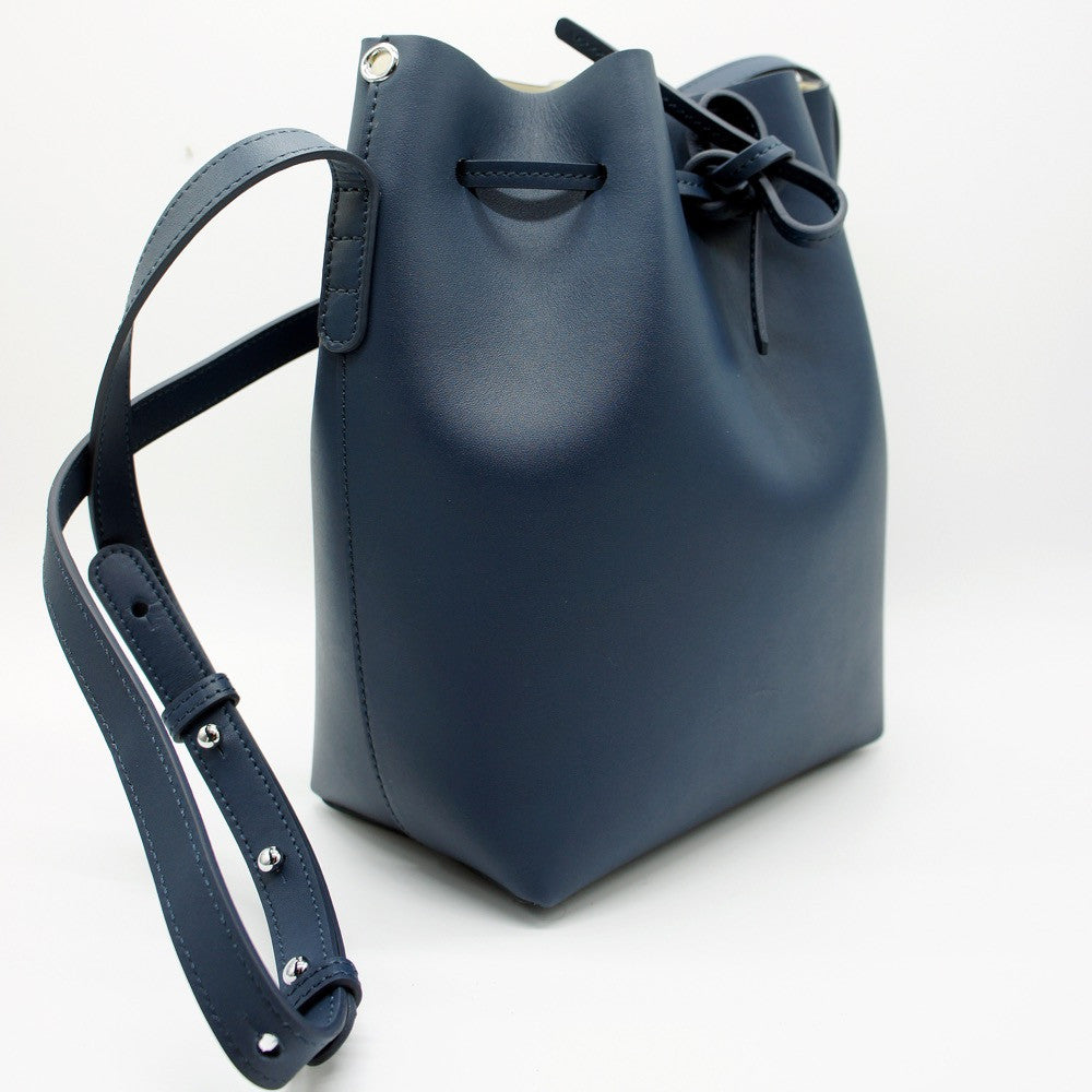 Leather Bucket Bag | Blue