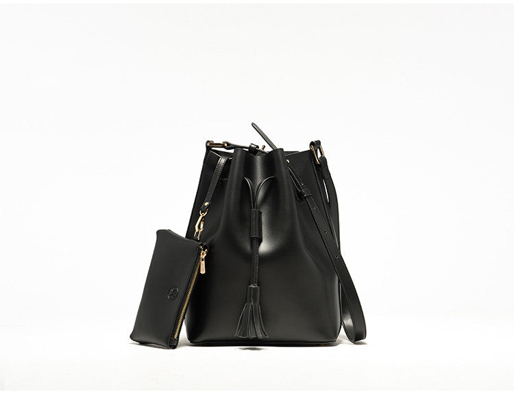 Leather Tassel Bucket Bag