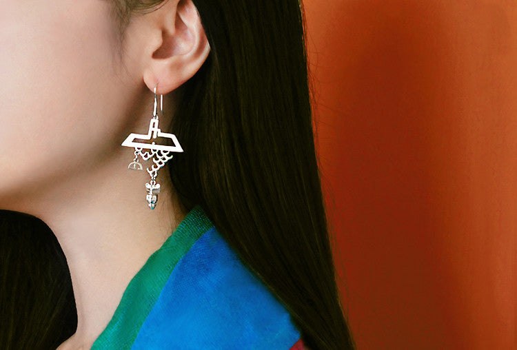 "925 Fine Silver Hook ""Eaves Rain"" Earrings"