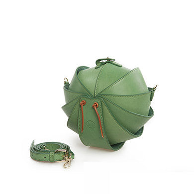 Small Round Leather Shoulder Beetle Bag Green
