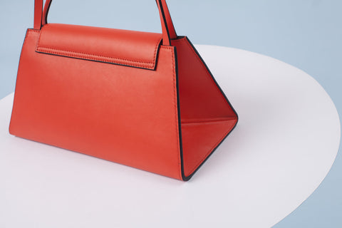 Triangular Leather Handbag | Orange
