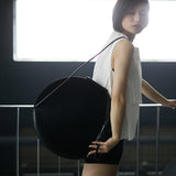 Large Circular Design Leather Bag