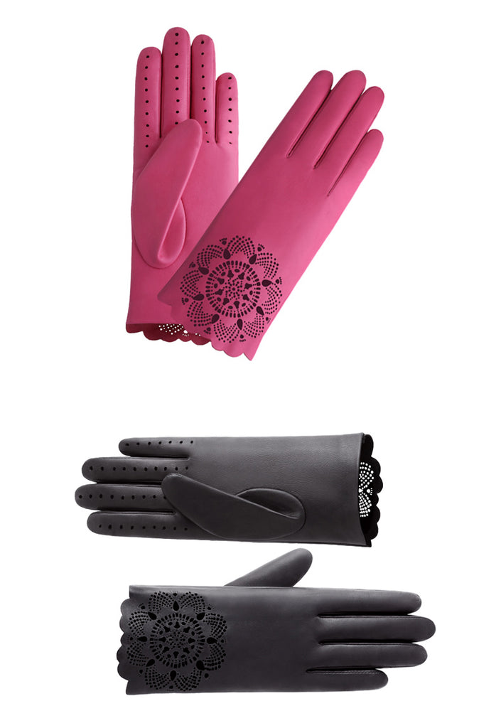 Cutout Leather Gloves
