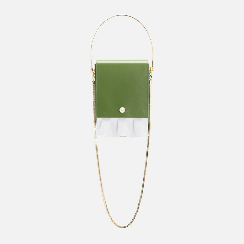 Box Crossbody Bag with Frill | Green
