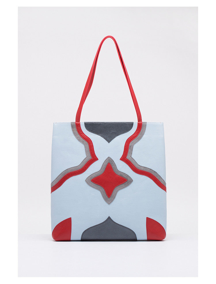 Colorblock Leather Tote | Gray