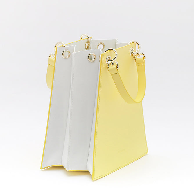 Two Tone Folded Leather bag | Yellow