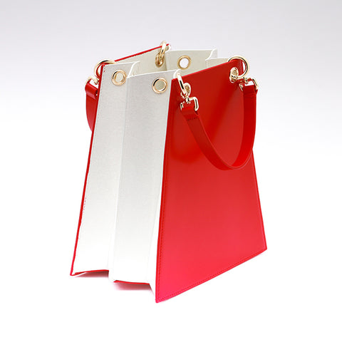 Two Tone Folded Leather bag | Red