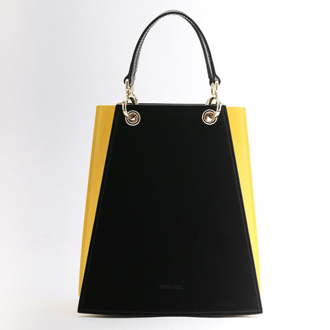 Two Tone Folded Leather bag | Black