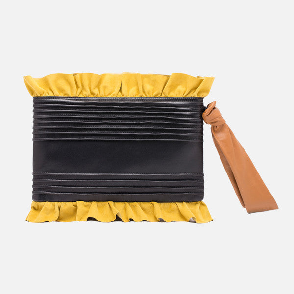 Ruffle Leather Clutch  | Black