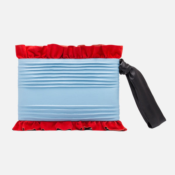Ruffle Leather Clutch  | Blue
