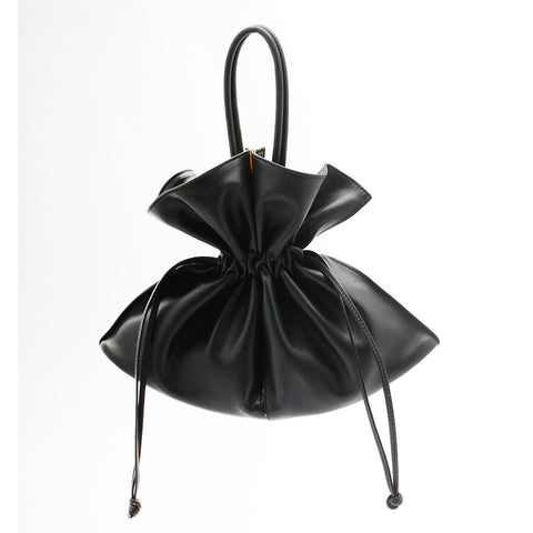 Soft Drawstring Bucket Bag | Black