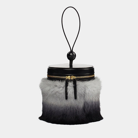 Promotion Fur Embellished Tube Wrist Bag