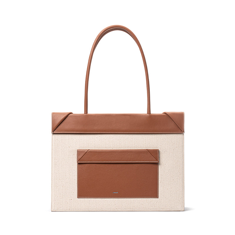 CLICK CANVAS & LEATHER TOTE | BROWN