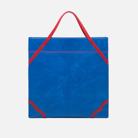 Shaped Leather Tote | Blue
