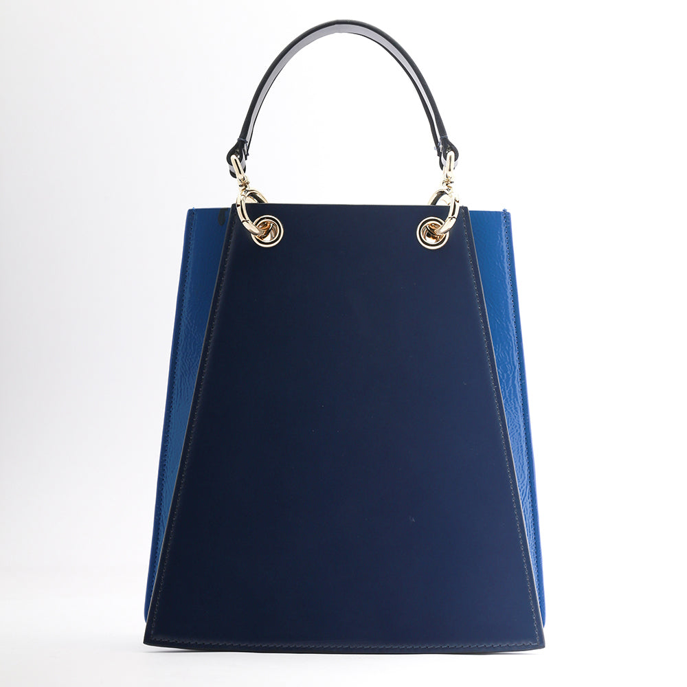 Two Tone Folded Leather bag | Navy