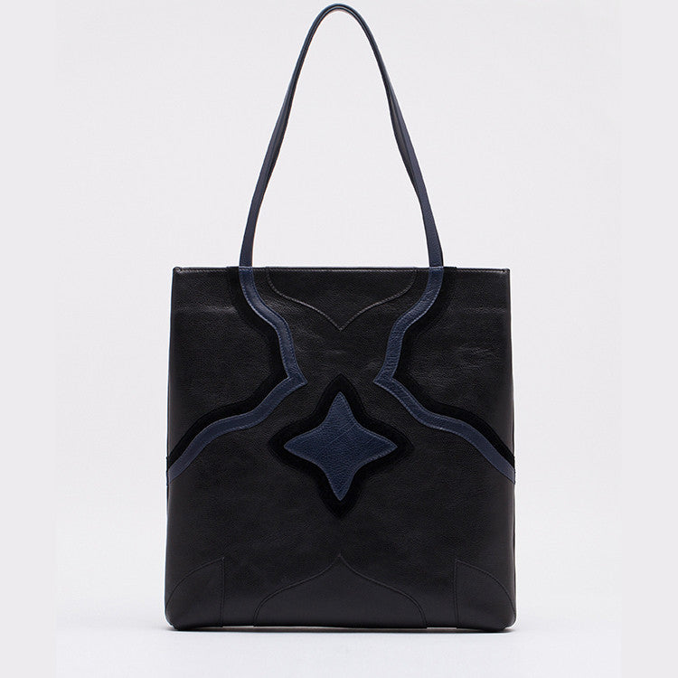 Colorblock Leather Tote | Black