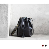 Leather Tassel Bucket Bag -SALE