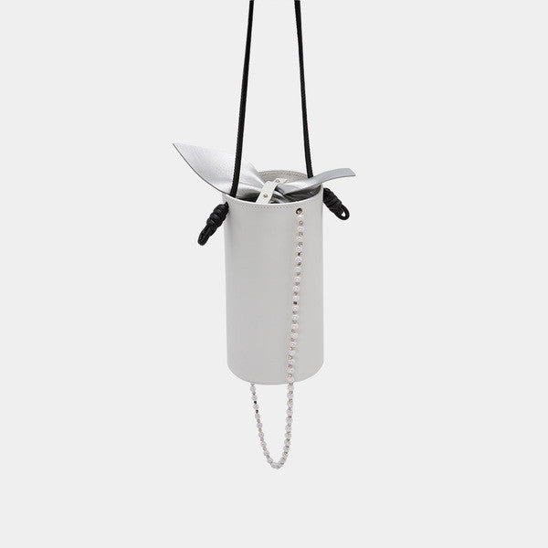Promotion Tube Leather Bow Shoulder Bag | White