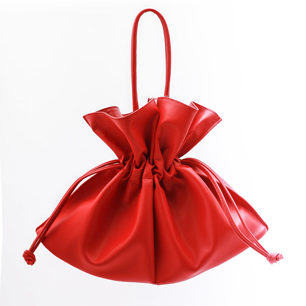 Soft Drawstring Bucket Bag | Red