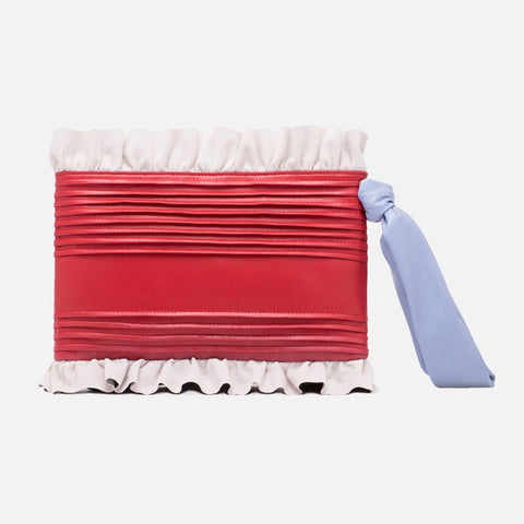 Ruffle Leather Clutch  | Red