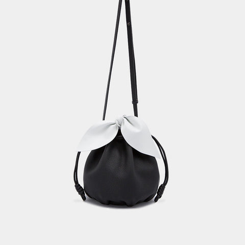 Promotion Drawstring Leather Bow Bucket Bag | Black