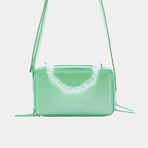 Dual Strap Rectangular Shoulder Bag | Apple Green