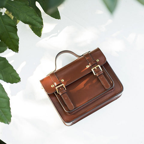 Small Square Messenger Leather Bag