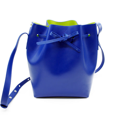 Leather Bucket Bag | Electric Blue