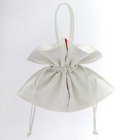 Soft Drawstring Bucket Bag | White