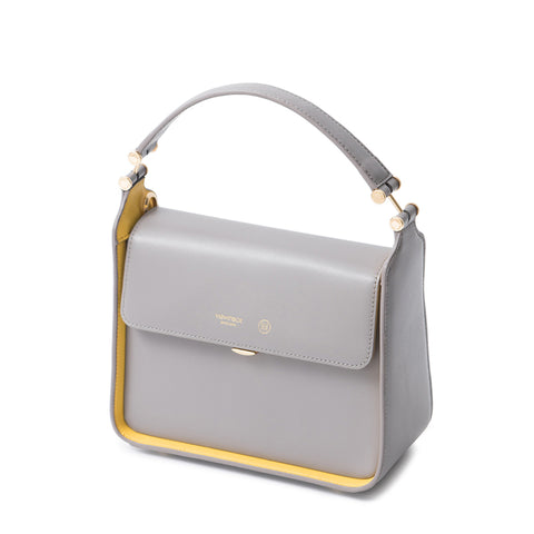 LEATHER TOP HANDLE TWO-TONE BAG