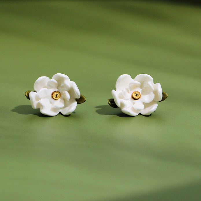 Enamel Magnolia Earrings
