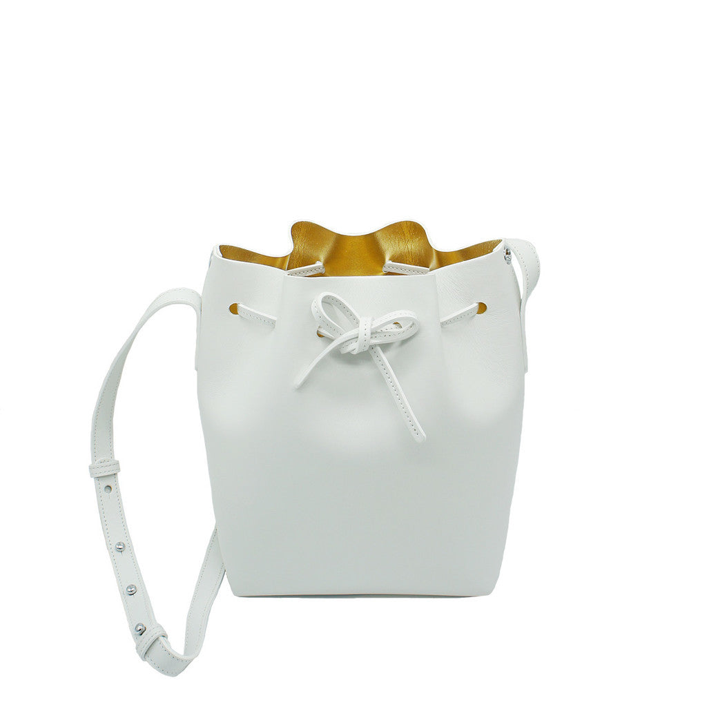 Leather Bucket Bag | White