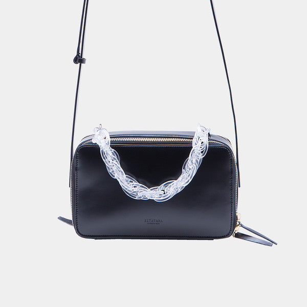Dual Strap Rectangular Shoulder Bag | Black