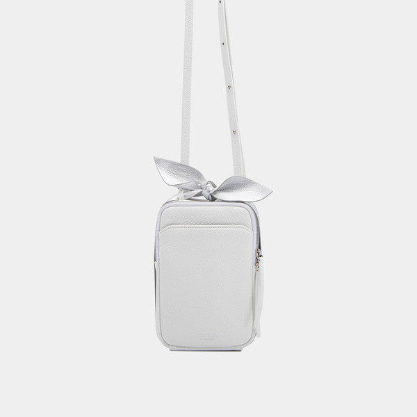 Classic Square Bow Messenger Bag | White
