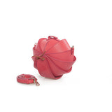 Small Round Leather Shoulder Beetle Bag Pink