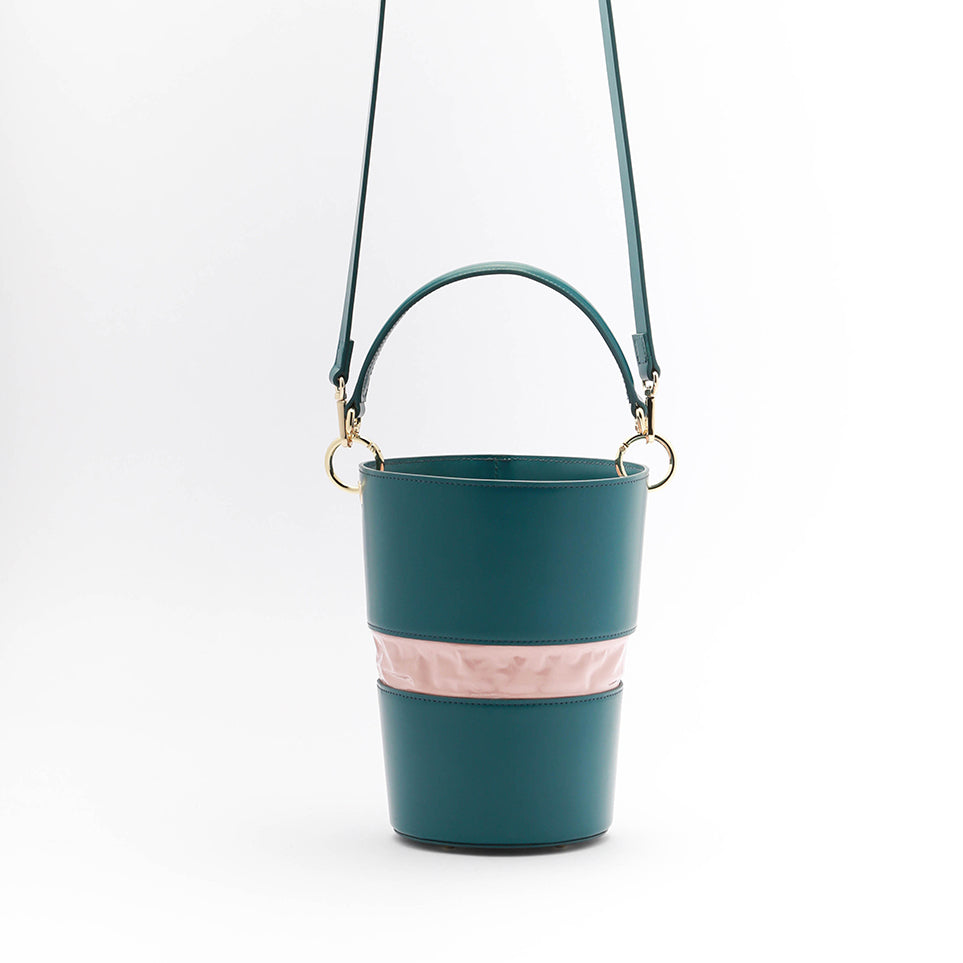 Adjustable Size Bucket Bag | Dark Green