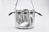 Drawstring Leather Bow Bucket Bag | Silver