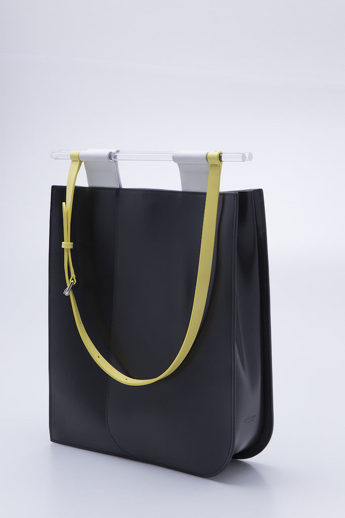 Large Dual Handle Leather Tote Bag | Black