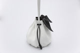 Promotion Drawstring Leather Bow Bucket Bag | White